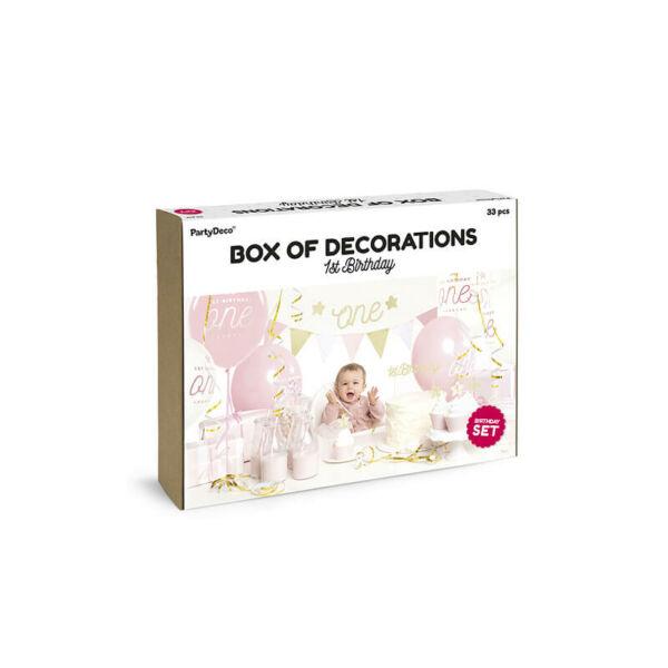 parti dekorációs készlet - első szülinap, lány