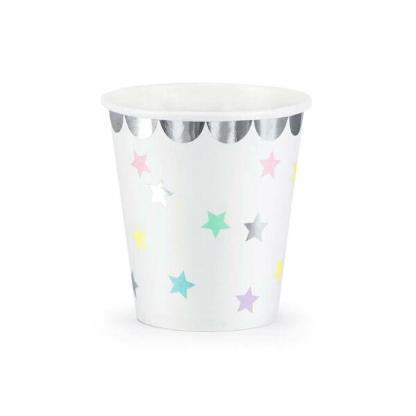 papír pohár (6 db/cs) – színes csillagos