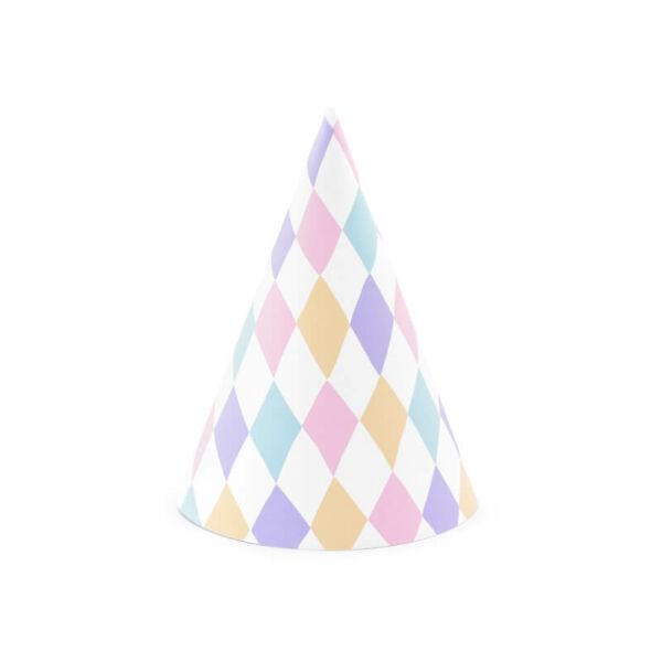 parti kalap (6 db/cs) - színes kockás