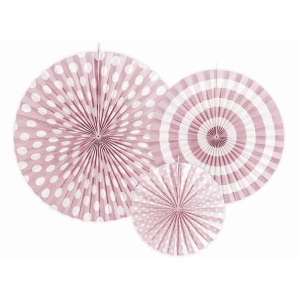 papír rozetta (3 db/cs) - púderrózsaszín