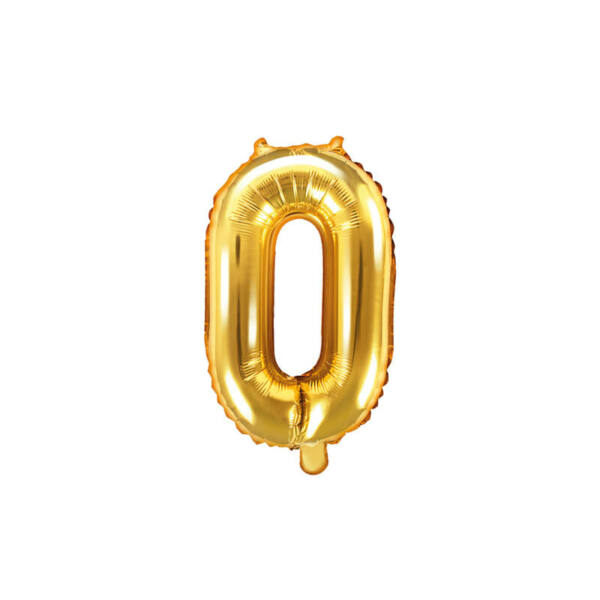 szülinapi fólia lufi 35 cm - 0-ás szám, arany