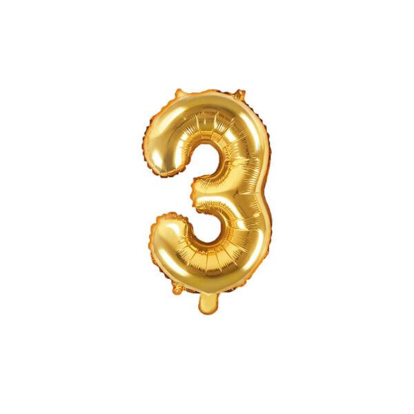 szülinapi fólia lufi 35 cm - 3-as szám, arany