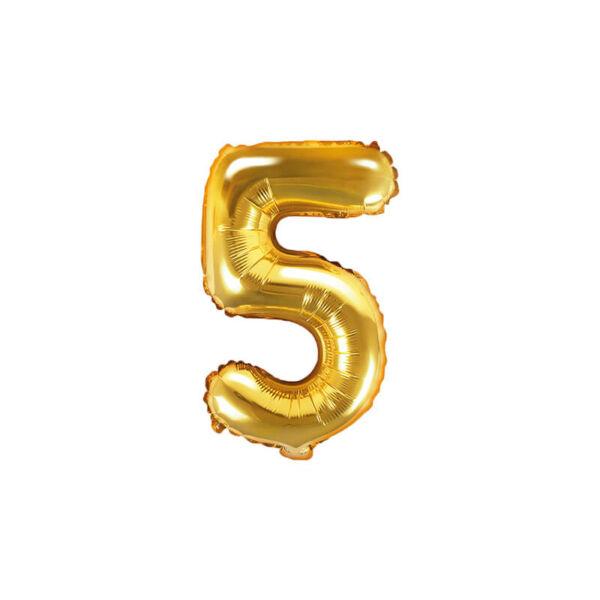 szülinapi fólia lufi 35 cm - 5-ös szám, arany