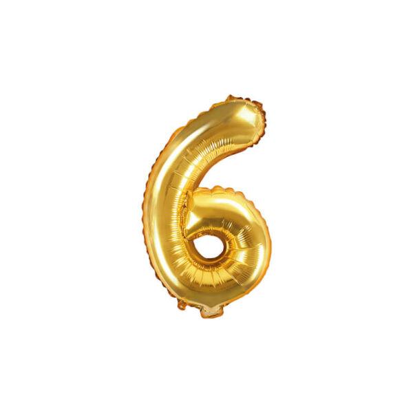 szülinapi fólia lufi 35 cm - 6-os szám, arany