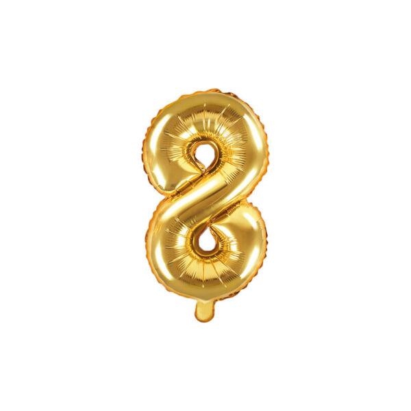 szülinapi fólia lufi 35 cm - 8-as szám, arany