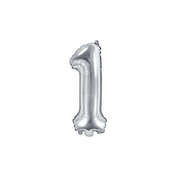 szülinapi fólia lufi 35 cm - 1-es szám, ezüst