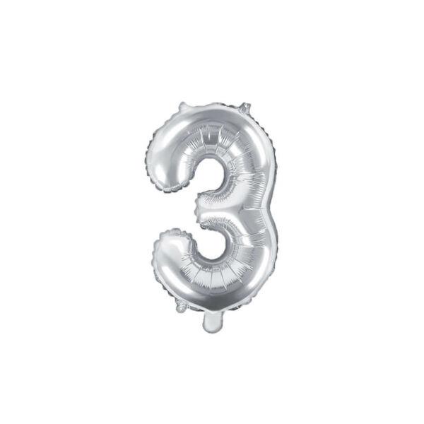 szülinapi fólia lufi 35 cm - 3-as szám, ezüst