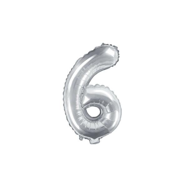 szülinapi fólia lufi 35 cm - 6-os szám, ezüst