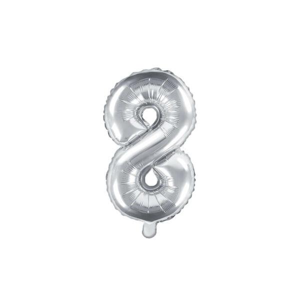 szülinapi fólia lufi 35 cm - 8-as szám, ezüst