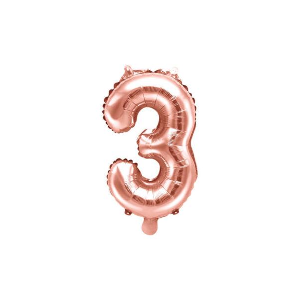 szülinapi fólia lufi 35 cm - 3-as szám, rose gold