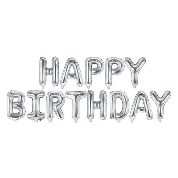 szülinapi fólia lufi - happy birthday, ezüst