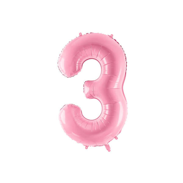 szülinapi fólia lufi 86 cm - 3-as szám, rózsaszín