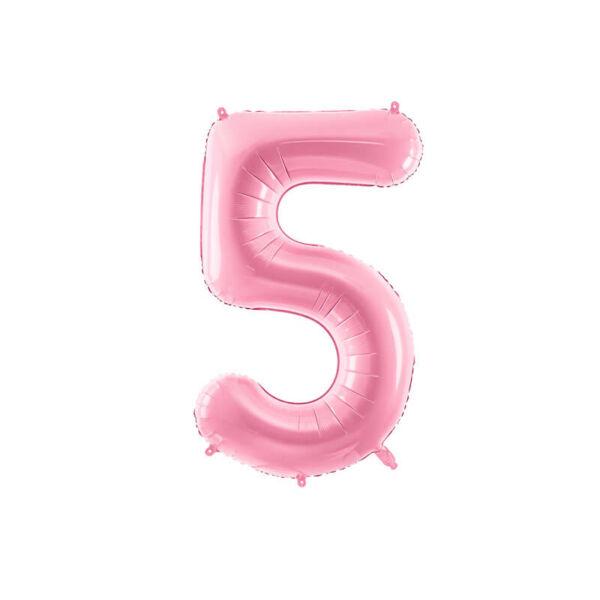 szülinapi fólia lufi 86 cm - 5-ös szám, rózsaszín