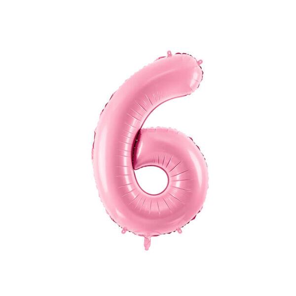 szülinapi fólia lufi 86 cm – 6-os szám, rózsaszín
