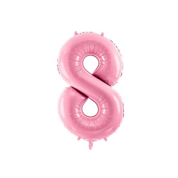szülinapi fólia lufi 86 cm – 8-as szám, rózsaszín