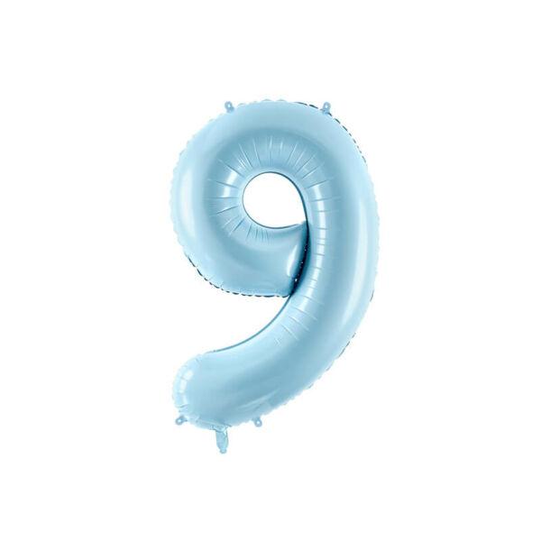 szülinapi fólia lufi 86 cm – 9-es szám, világoskék