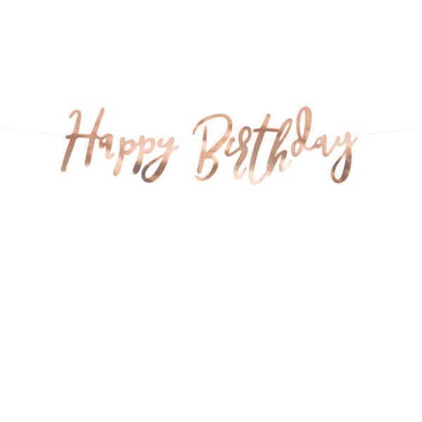 szülinapi füzér - happy birthday, rose gold
