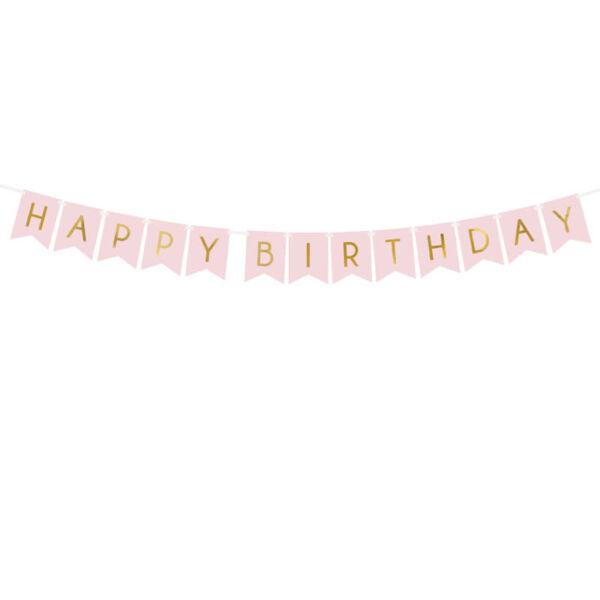 szülinapi füzér - happy birthday, rózsaszín