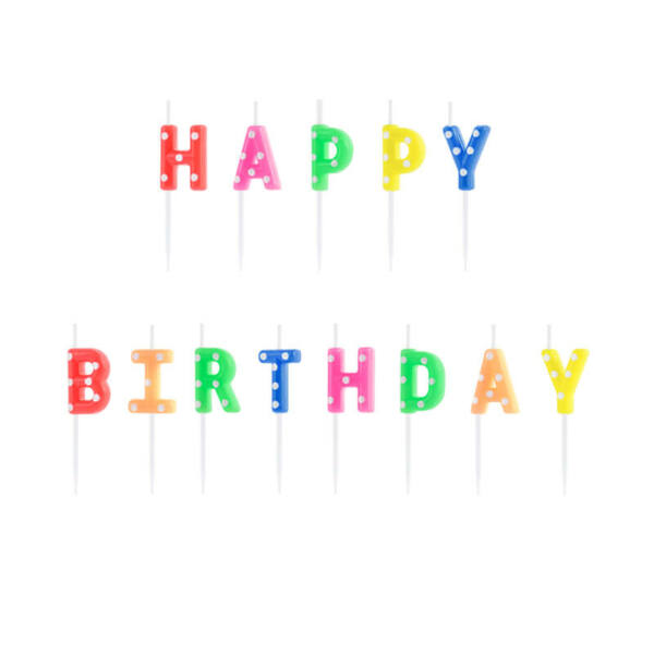 szülinapi gyertya - happy birthday, színes