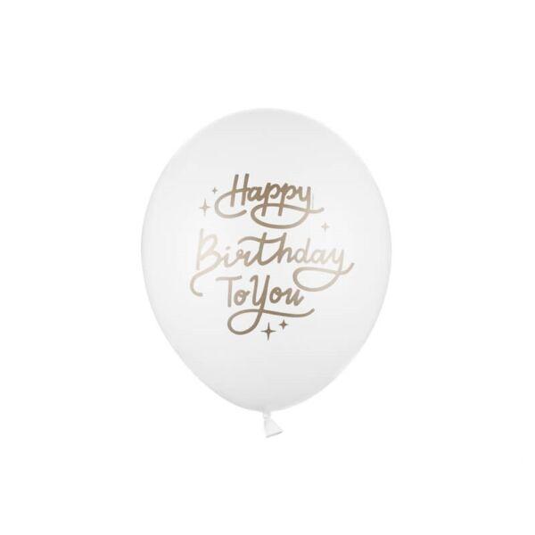 szülinapi lufi 30 cm - happy birthday, fehér