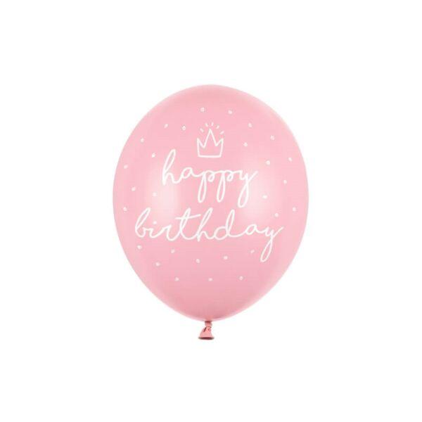 szülinapi lufi 30 cm – happy birthday, rózsaszín