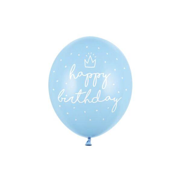 szülinapi lufi 30 cm - happy birthday, világoskék