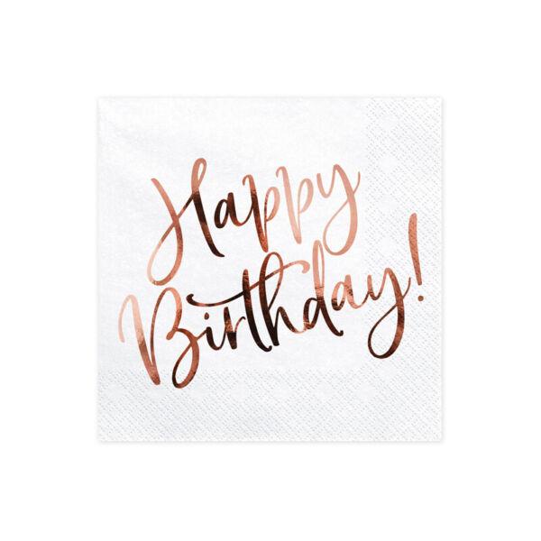 szalvéta 33x33 cm 3 rétegű (20 db/cs) - happy birthday, rose gold