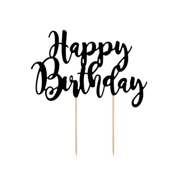 szülinapi tortadísz – happy birthday, fekete