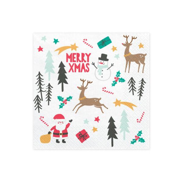 szalvéta 33x33 cm 3 rétegű (20 db/cs) - Merry Xmas