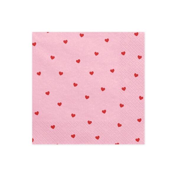 szalvéta 33x33 cm 3 rétegű (20 db/cs) - rózsaszín alapon szíves