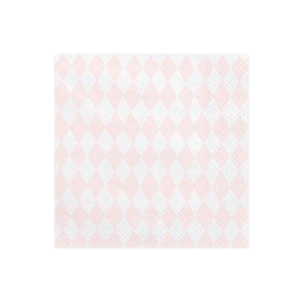 szalvéta 33x33 cm 3 rétegű (20 db/cs) – rózsaszín kockás