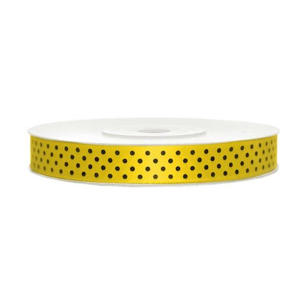 12 mm széles pöttyös szatén szalag (25 m) - citromsárga
