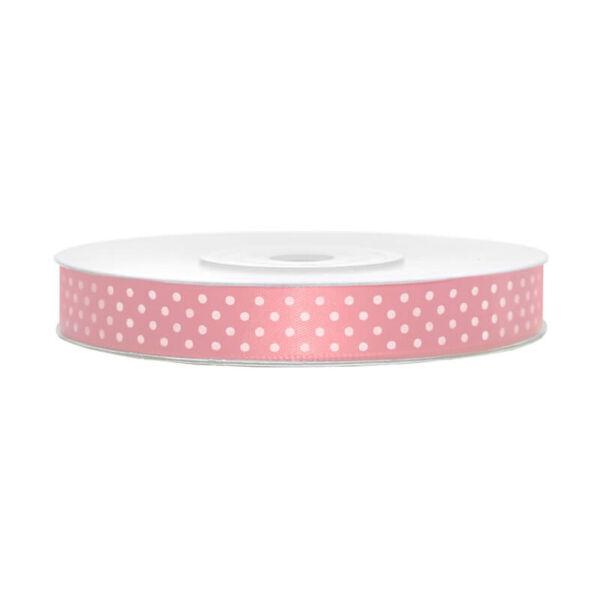 12 mm széles pöttyös szatén szalag (25 m) - rózsaszín