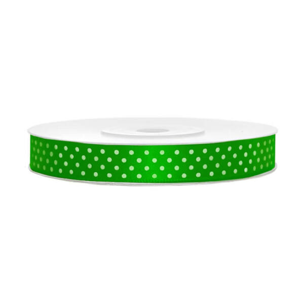 12 mm széles pöttyös szatén szalag (25 m) – smaragdzöld