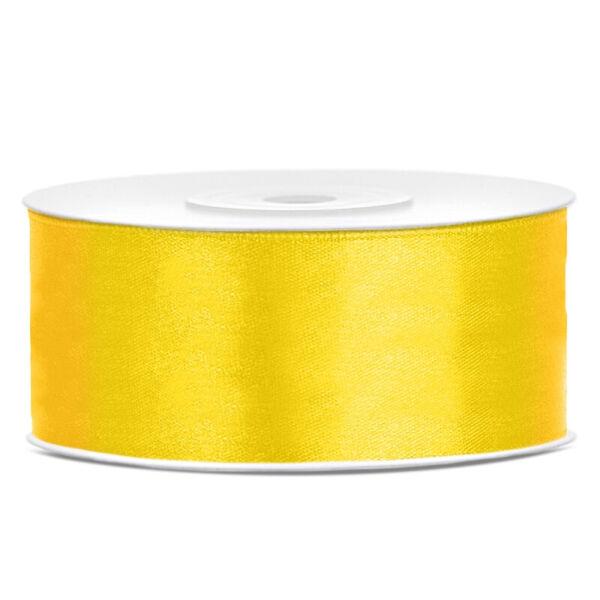 25 mm széles szatén szalag (25 m) - citromsárga