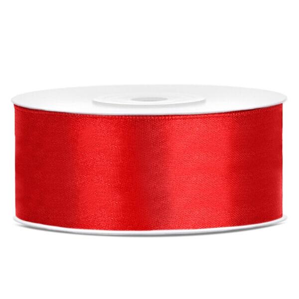 25 mm széles szatén szalag (25 m) - piros