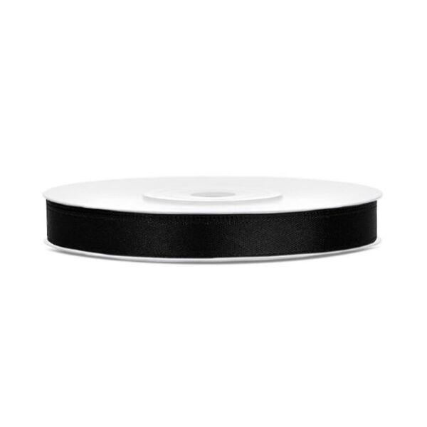 6 mm széles szatén szalag (25 m) - fekete