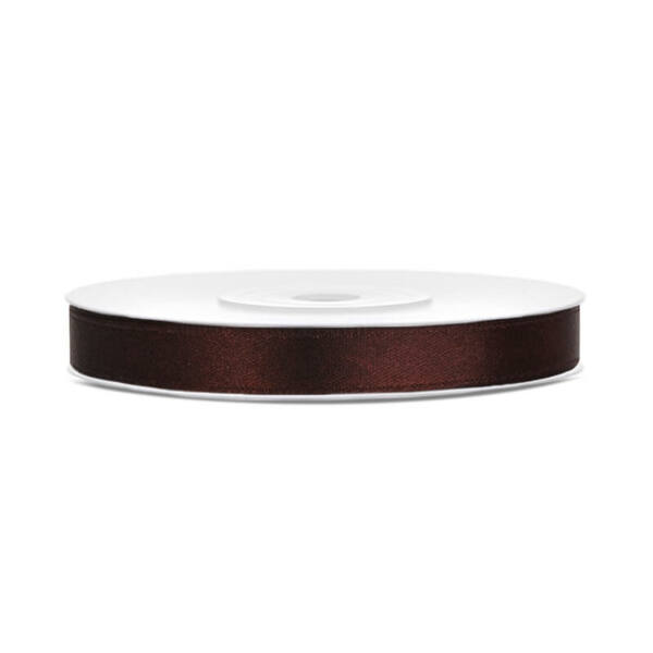 6 mm széles szatén szalag (25 m) - kávébarna