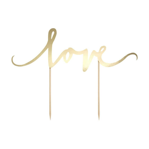 esküvői tortadísz (karton) - love, arany