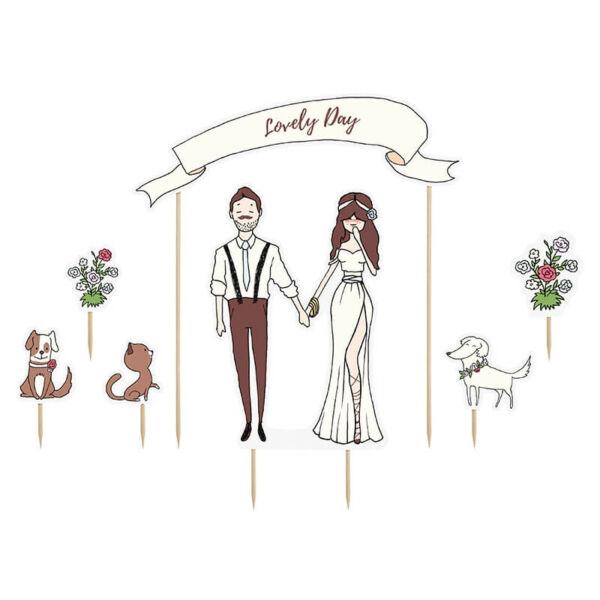 esküvői tortadísz (karton) - lovely day