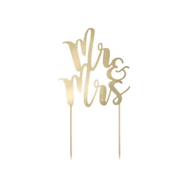 esküvői tortadísz (karton) - Mr és Mrs, arany