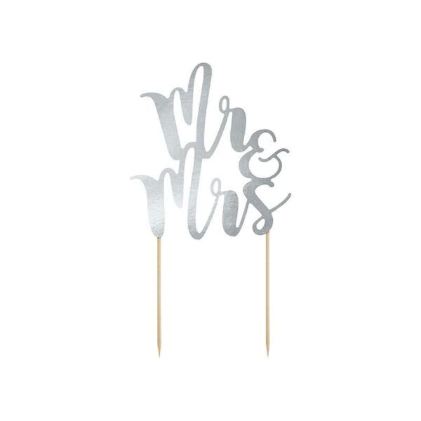 esküvői tortadísz (karton) - Mr és Mrs, ezüst