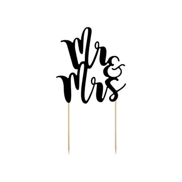 esküvői tortadísz (karton) - Mr és Mrs, fekete