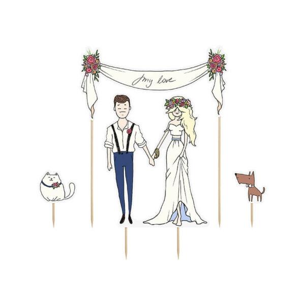 esküvői tortadísz (karton) – my love