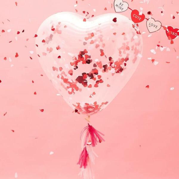 szív alakú konfetti lufi - Valentin