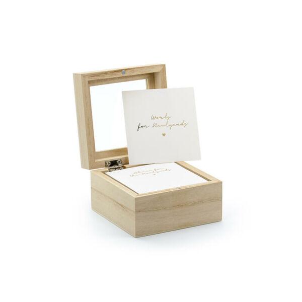 esküvői vendégkönyv (alternatív) – fadoboz kártyákkal