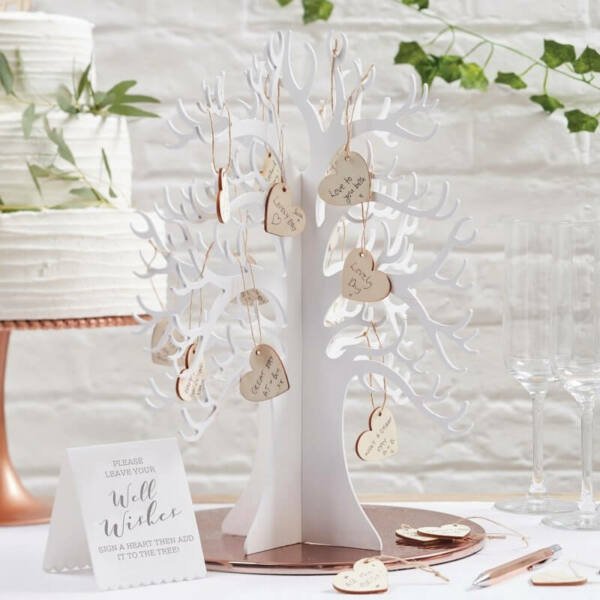 esküvői vendégkönyv (alternatív) – kívánságfa szívekkel