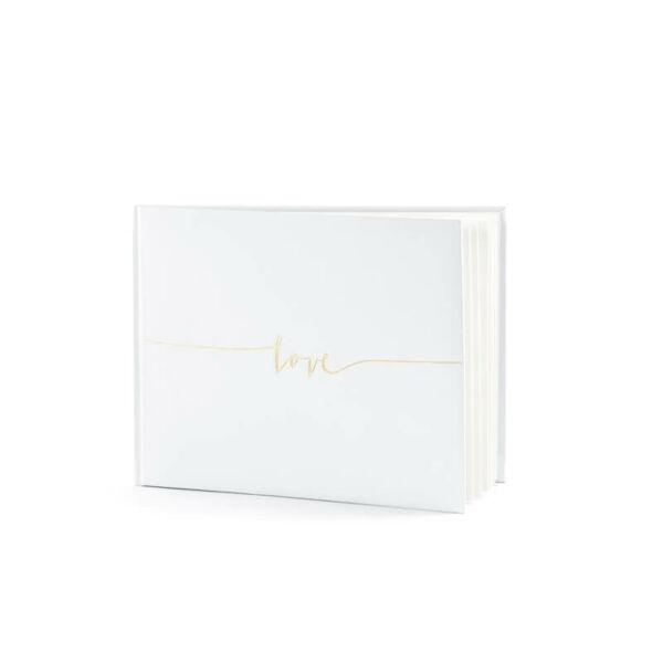 esküvői vendégkönyv – arany love felirattal, krém