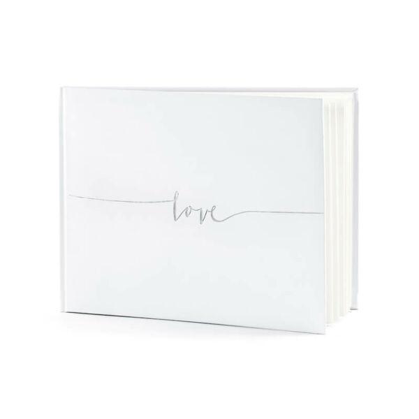 esküvői vendégkönyv - ezüst love felirattal, fehér