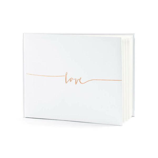 esküvői vendégkönyv - rose gold love felirattal, fehér
